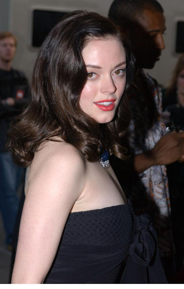 Rose McGowan attends the 29th Annual American Music Awards at the Shrine Auditorium on Jan. 9, 2002, in Los Angeles. (Photo by Vince Bucci/Getty Images)