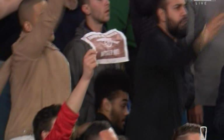 Arsenal fan's laughable A4 banner - Credit: Sky Sports
