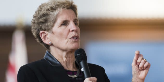 Ontario's Premier Kathleen Wynne speaks at town hall Q&A at Queen's University in Kingston, Ont., Wed. Feb. 14. There is