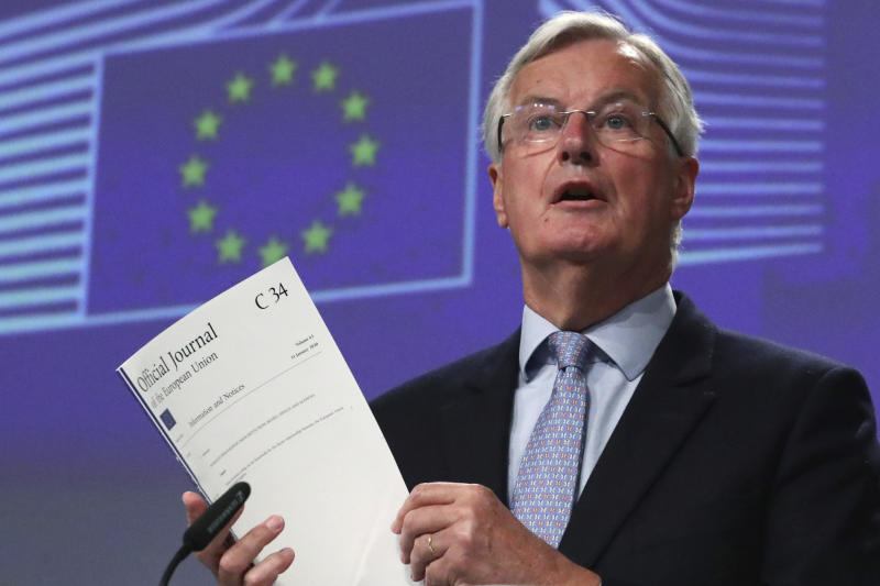 European Union's chief Brexit negotiator Michel Barnier gives a news conference after Brexit talks, in Brussels, Belgium, Friday, June 5, 2020. (Yves Herman, Pool Photo via AP)