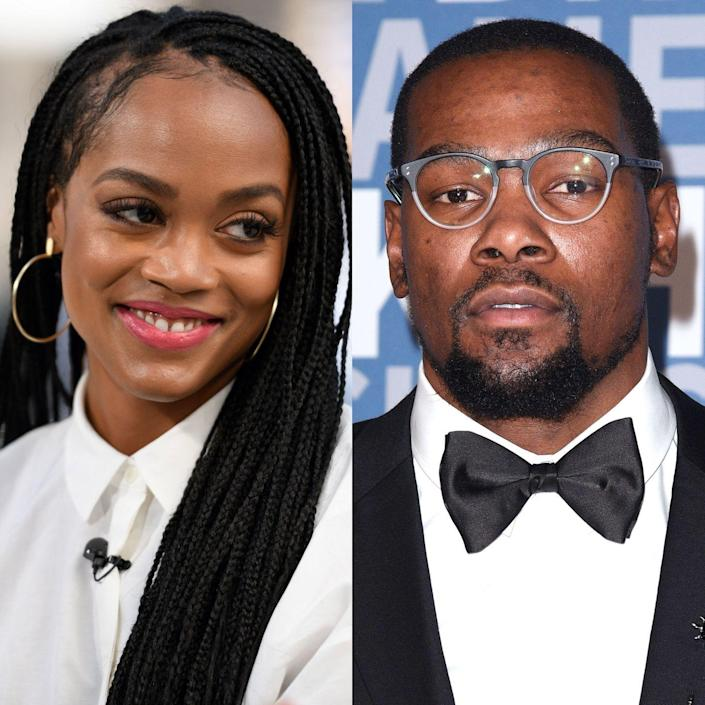 """<p>Before Rachel Lindsay was passing out roses as The Bachelorette on the ABC reality show's 13th season, she was a student at The University of Texas. Also at UT Austin during that time was NBA star in the making, Kevin Durant. </p><p>For awhile, rumors circulated that Lindsay and Durant had been romantically entangled during college, but the Bachelorette hastily put a stop to that fantasy on an episode of the <a href=""""http://art19.com/shows/bachelor-party/episodes/9c6e1d05-7b3c-4df0-83ca-23a9227c7eb3"""" rel=""""nofollow noopener"""" target=""""_blank"""" data-ylk=""""slk:&quot;Bachelor Party&quot; podcast"""" class=""""link rapid-noclick-resp"""">""""Bachelor Party"""" podcast</a>. """"I'll put it like this: I know Kevin,"""" Lindsay said. """"The way the media played it out, I think they said we were still serious and we were almost engaged. No...I wasn't getting engaged but we've known each other. We've hung out together.""""</p>"""