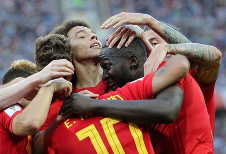 Soccer Football - World Cup - Group G - Belgium vs Panama - Fisht Stadium, Sochi, Russia - June 18, 2018 Belgium's Romelu Lukaku celebrates scoring their third goal with Axel Witsel and team mates REUTERS/Marcos Brindicci