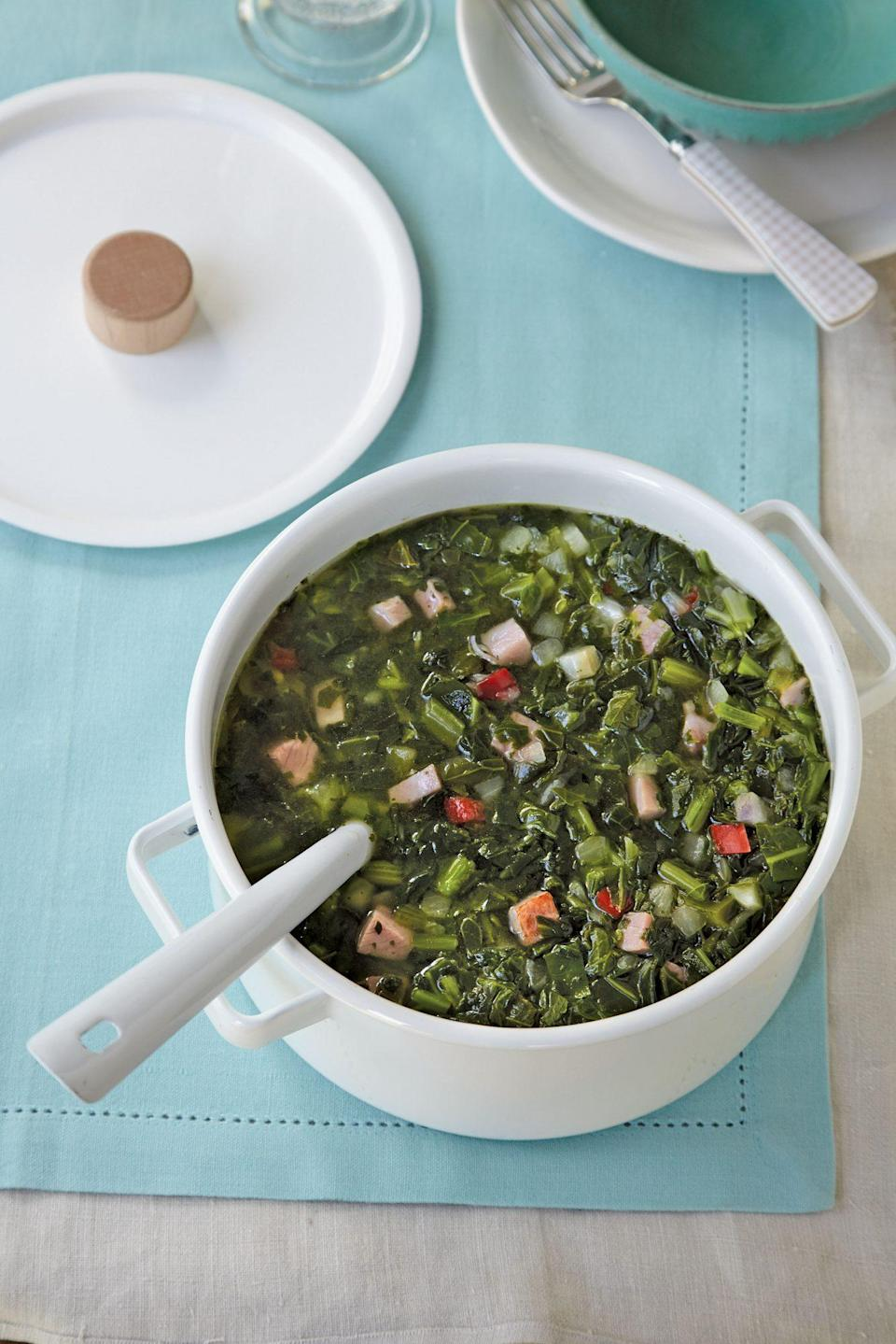 """<p><strong>Recipe: <a href=""""https://www.southernliving.com/recipes/turnip-greens-ham-stew-recipe"""" rel=""""nofollow noopener"""" target=""""_blank"""" data-ylk=""""slk:Turnip Greens-and-Ham Stew"""" class=""""link rapid-noclick-resp"""">Turnip Greens-and-Ham Stew</a></strong></p> <p>From start to finish, this soup only takes 30 minutes and seven ingredients to prepare. It turns two Southern classics, beans and greens, into one comforting bowl of soup.</p>"""