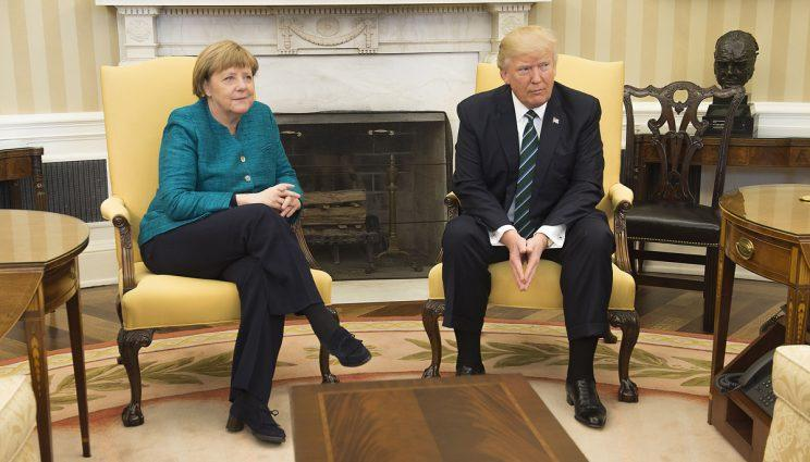 Merkel and Trump failed to shake hands following their meeting at the White House (Rex)