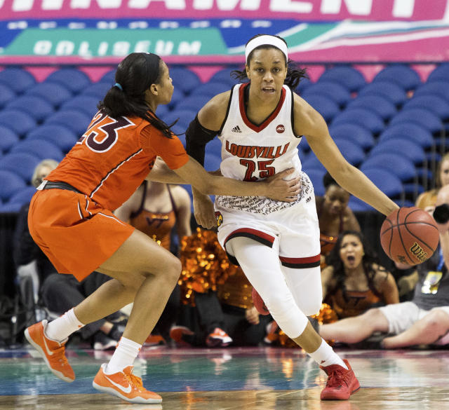 FILE - In this Friday, March 2, 2018 file photo, Louisville's Asia Durr (25) is fouled by Virginia Tech's Rachel Camp (23) during the final seconds of an Atlantic Coast Conference tournament basketball game in Greensboro, N.C. (AP Photo/Ben McKeown, File)