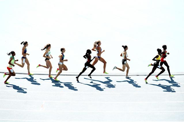 <p>Athletes compete during the Women's 3000m Steeplechase Round 1 on Day 8 of the Rio 2016 Olympic Games at the Olympic Stadium on August 13, 2016 in Rio de Janeiro, Brazil. (Photo by Cameron Spencer/Getty Images) </p>