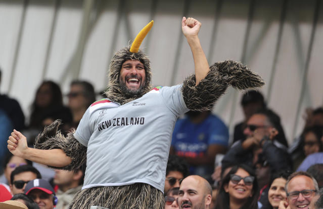 A New Zealand fan celebrates a boundary. (AP Photo/Aijaz Rahi)
