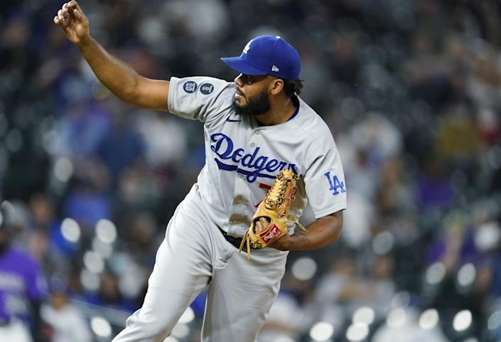 Dodgers reliever Kenley Jansen works against the Colorado Rockies in the ninth inning April 3, 2021, in Denver.