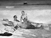 <p>Connery and Maryse Mitsuoko in the Bahamas in the most commercially successful Bond film, <em>Thunderball</em>, in 1965. </p>