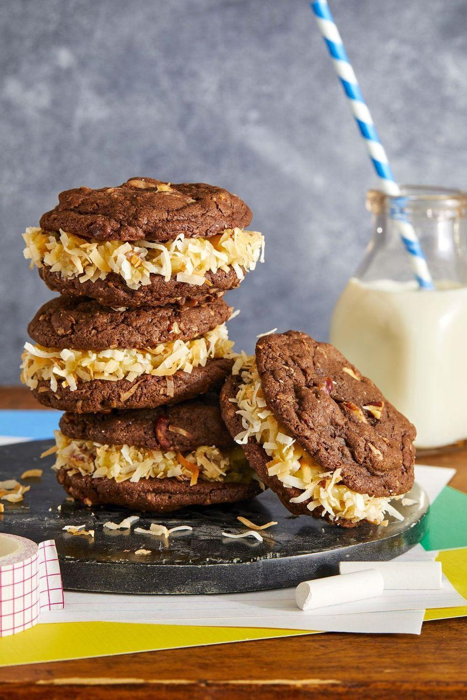 "<p>These chocolatey treats with a custardy, coconut filling are not your average cookie.</p><p><em><a href=""https://www.countryliving.com/food-drinks/a33553999/german-chocolate-sandwich-cookies/"" rel=""nofollow noopener"" target=""_blank"" data-ylk=""slk:Get the recipe from Country Living »"" class=""link rapid-noclick-resp"">Get the recipe from Country Living »</a></em></p>"