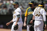 Oakland Athletics starting pitcher Frankie Montas (47) is taken out by Bob Melvin, center, during the sixth inning of a baseball game against the Tampa Bay Rays, Saturday, May 8, 2021, in Oakland, Calif. (AP Photo/Tony Avelar)