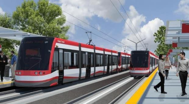 An artist's rendering of a ground-level station on the new Green Line LRT.  (City of Calgary - image credit)
