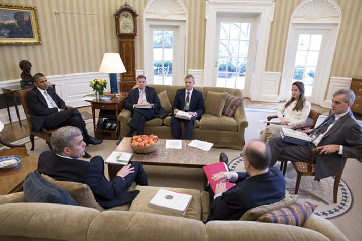 U.S. President Barack Obama (L) meets with National Security staff in the Oval Office in this White House photograph taken on March 8, 2012 and obtained on June 13, 2013. (Pete Souza/The White House/Handout via Reuters)