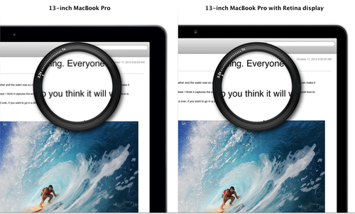 Comparison of text on an iMac with and without Retina display