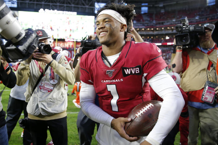 Kyler Murray hasn't given up on MLB just yet. (AP Photo/Rick Scuteri)