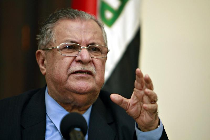 Iraqi President Jalal Talabani at a press conference in Baghdad on March 2, 2009 (AFP Photo/Ali al-Saadi)
