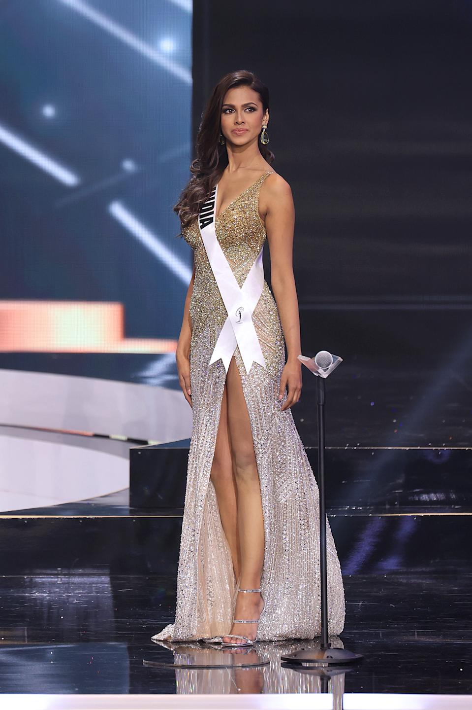 HOLLYWOOD, FLORIDA - MAY 16: Miss Universe India Adline Castelino appears onstage at the Miss Universe 2021 Pageant at Seminole Hard Rock Hotel & Casino on May 16, 2021 in Hollywood, Florida. (Photo by Rodrigo Varela/Getty Images)