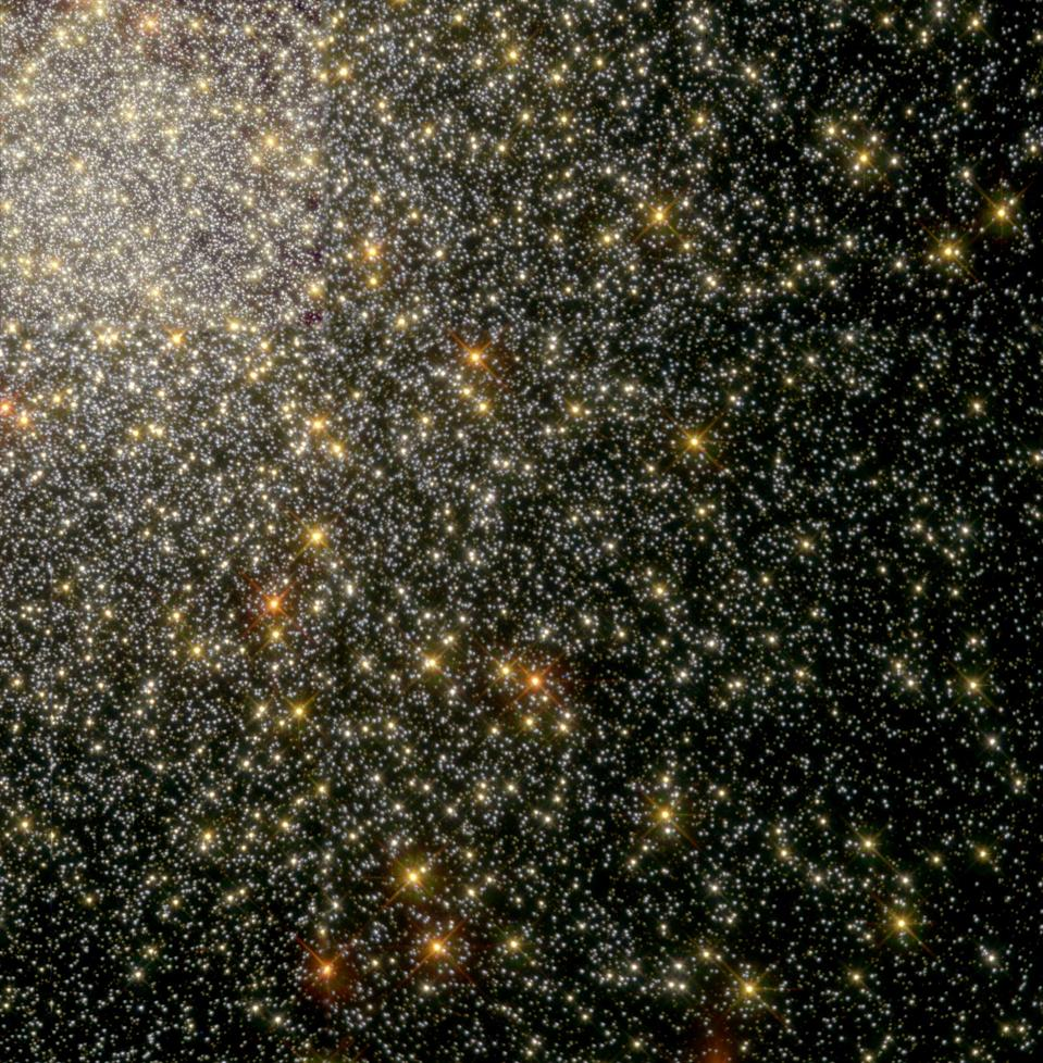 The Hubble Space Telescope Wide Field and Planetary Camera 2 snapped this image of the globular star cluster 47 Tucanae. In this image there are about 35,000 stars near the cluster's center. In this picture you can see the natural colors of the stars, which allow scientists to determine things like how old the stars might be and what they could be made out of.