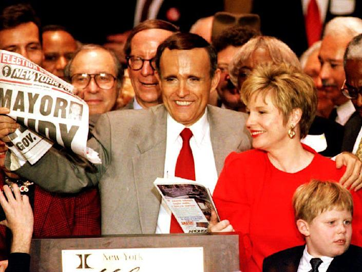 <p>Giuliani is elected mayor of New York in 1993 after losing his previous attempt</p>AFP/Getty