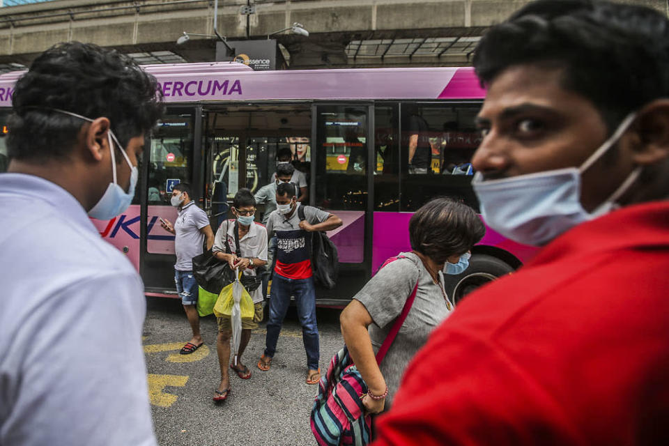 People wearing face masks during the weekend in Kuala Lumpur October 11, 2020. — Picture by Hari Anggara
