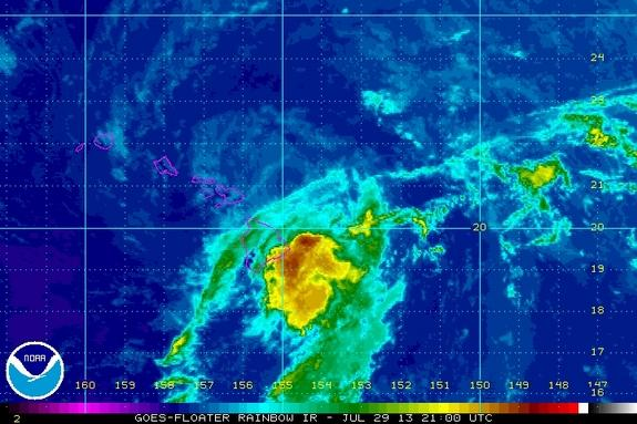 Tropical storm Flossie nears Hawaii in this image from NASA's GOES satellite.