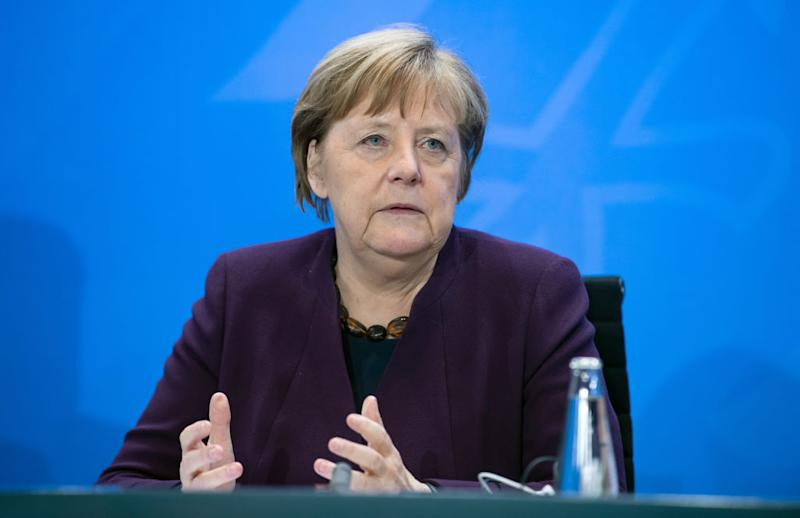 12 March 2020, Berlin: Federal Chancellor Angela Merkel (CDU) spoke at a press conference following her meeting with other members of the Federal Government and the heads of the Länder governments at the Federal Chancellery. Topics of the joint meeting of the Minister President's Conference (MPK) and the Federal Government include the spread of the coronavirus, the package for the expansion of renewable energies and a new State Treaty on Gambling. Photo: Bernd von Jutrczenka/dpa (Photo by Bernd von Jutrczenka/picture alliance via Getty Images)