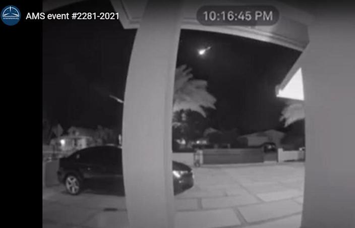 People in Florida and the Bahamas reported seeing a fireball Monday, April 12, 2021. Still image taken from video provided by Israel Torres.