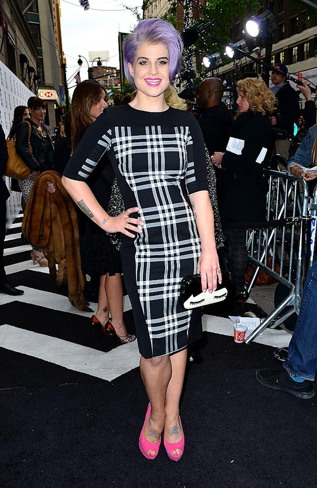 Her tartan frock, eyelash-adorned clutch, and pink peep-toes are all beyond fab, but Kelly Osbourne's lavender-hued locks (and this particular hairstyle) have got to go. We miss her platinum blond days, don't you? (4/30/2012)