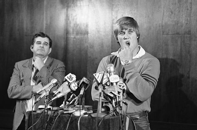"John Elway was originally drafted No. 1 by the Baltimore Colts, but was traded to the <a class=""link rapid-noclick-resp"" href=""/nfl/teams/den/"" data-ylk=""slk:Denver Broncos"">Denver Broncos</a> after saying he would not play for the Colts. (AP)"