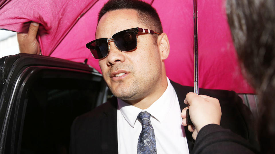 Jarryd Hayne, pictured here at Newcastle Court for his sentencing hearing.