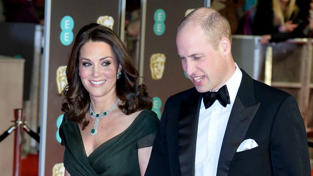The pregnant Duchess of Cambridge opted for a dark green gown for Britain's Oscars, with her husband Prince William by her side.