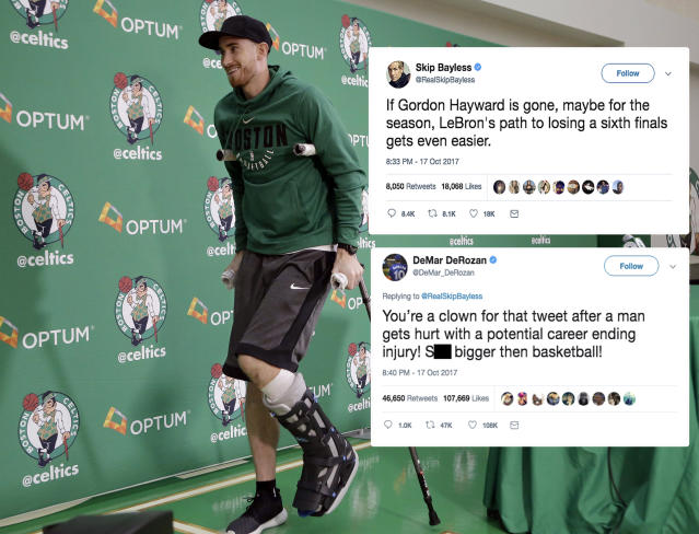 "<p>Bayless, the controversial sports personality, drew the ire of many when he hopped on Twitter moments after Hayward had severely injured his leg in Boston's season debut. Toronto Raptors star DeMar DeRozan was among those critical of Bayless' insensitive tweet. Click <a href=""https://ca.sports.yahoo.com/news/demar-derozan-slams-skip-bayless-022002818.html"" data-ylk=""slk:here;outcm:mb_qualified_link;_E:mb_qualified_link"" class=""link rapid-noclick-resp newsroom-embed-article"">here</a> to read more. </p>"
