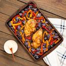 <p>This one-pan dinner gets a hit of flavorful heat from harissa, the popular North African chile-and-garlic paste. We use harissa paste from a tube for this recipe. It's got a concentrated chile flavor that makes an excellent spice rub for chicken and adds a subtle punch of heat to a refreshing herbed yogurt sauce.</p>