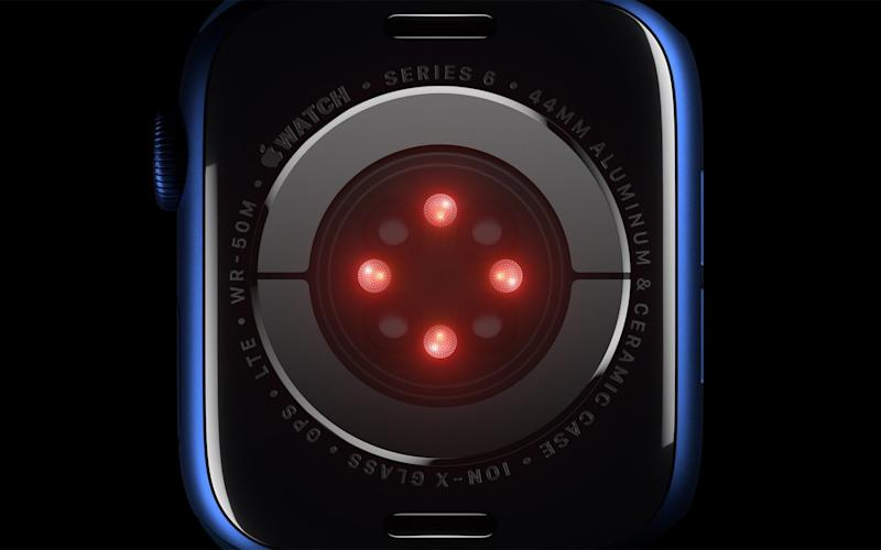 A handout video still image made available by Apple Inc. showing Apple Watch Series 6 featuring a blood oxygen sensor and app employs LEDS, along with photodiodes on the back crystal during an Apple Event at Apple Park in Cupertino, California, USA, 15 September 2020 - Apple