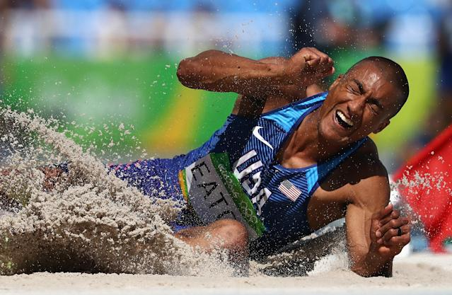 <p>Ashton Eaton of the United States competes in the Men's Decathlon Long Jump on Day 12 of the Rio 2016 Olympic Games at the Olympic Stadium on August 17, 2016 in Rio de Janeiro, Brazil. (Photo by Alexander Hassenstein/Getty Images) </p>