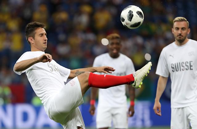 Soccer Football - World Cup - Group E - Brazil vs Switzerland - Rostov Arena, Rostov-on-Don, Russia - June 17, 2018 Switzerland's Mario Gavranovic during the warm up before the match REUTERS/Marko Djurica
