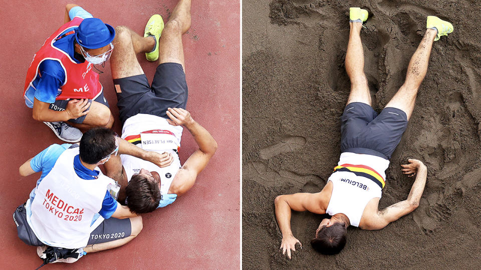 Thomas Van der Plaetsen, pictured here in agony during the long jump event in the decathlon.