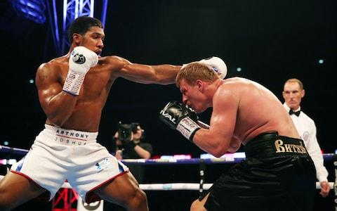 Anthony Joshua (left) and Alexander Povetkin at Wembley Stadium, London - Credit: Nick Potts/PA Wire