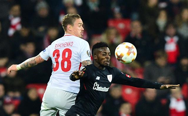 Soccer Football - Europa League Round of 32 Second Leg - Athletic Bilbao vs Spartak Moscow - San Mames, Bilbao, Spain - February 22, 2018 Athletic Bilbao's Inaki Williams in action with Spartak Moscow's Andrey Yeshchenko REUTERS/Vincent West