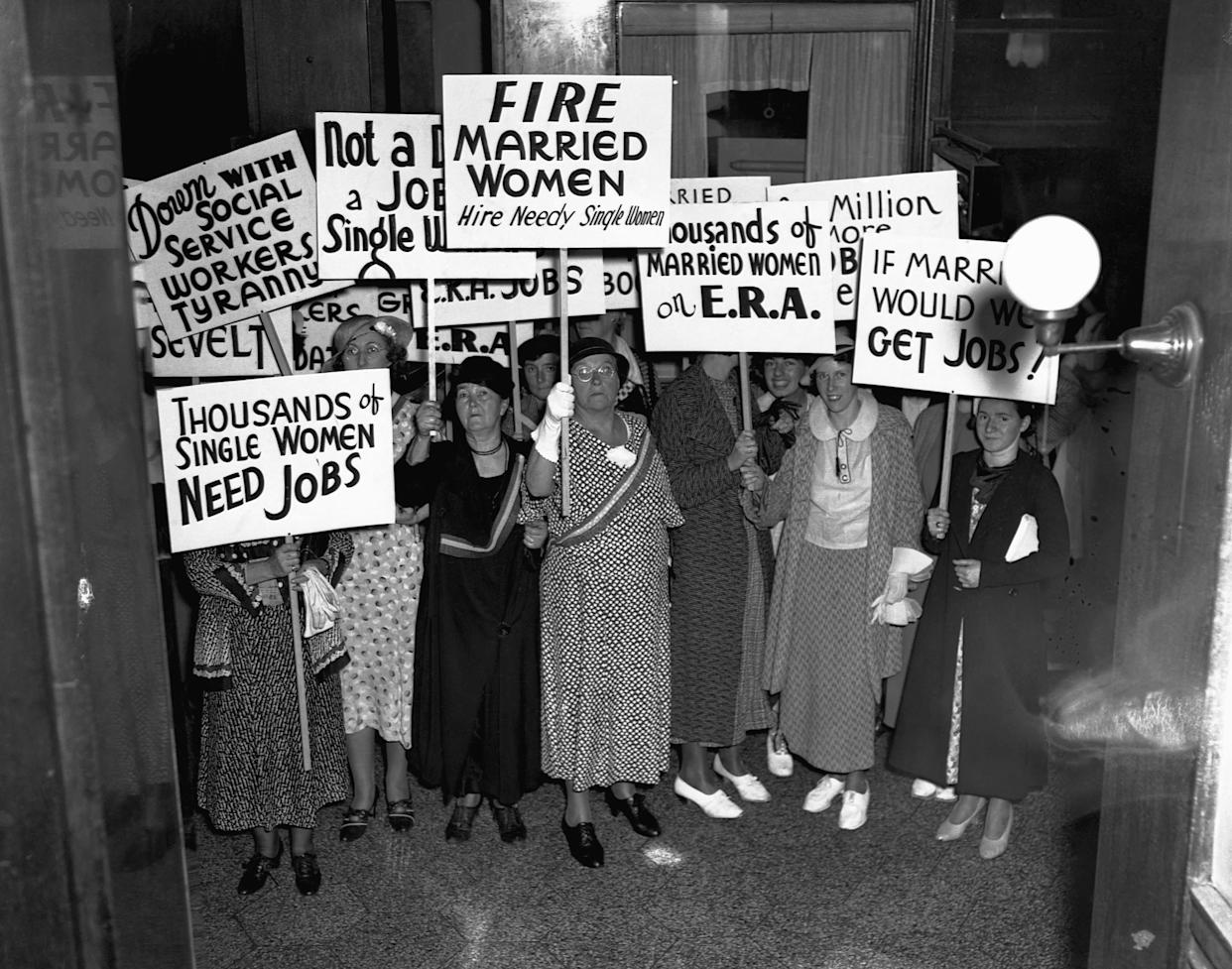 Unemployed, single women protesting the job placement of married women before themselves at the Emergency Relief Administration headquarters in Boston, Massachusetts June 24, 1935.