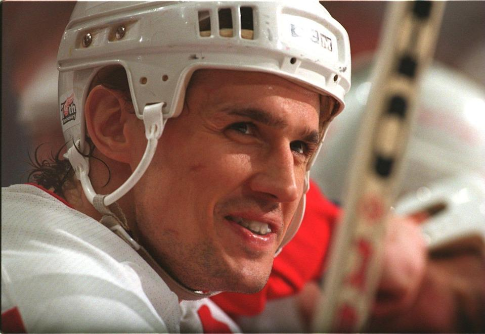 Steve Yzerman wearing the white Red Wings helmet during his playing days.