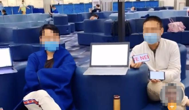 A photo circulating on social media shows two of the passengers who were stranded at Hong Kong International Airport. Their faces have been blurred to preserve their anonymity. Photo: Weibo