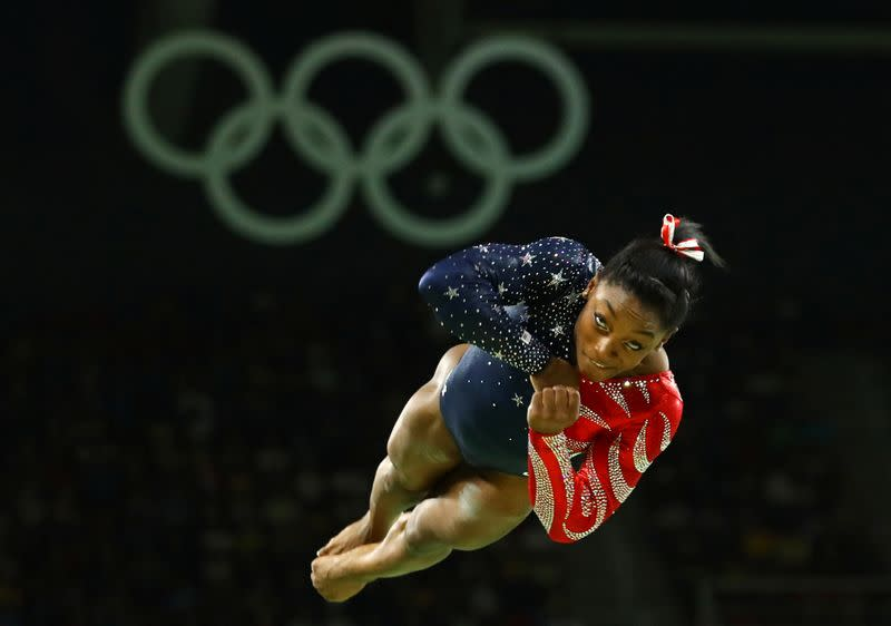 American gymnast Biles cried at news of Tokyo postponement