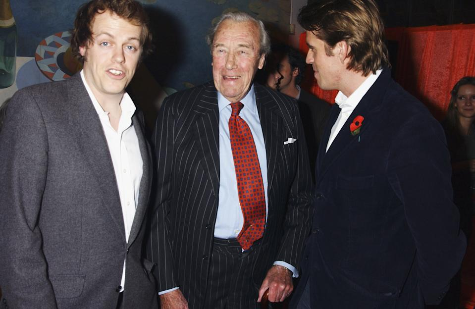 "LONDON - NOVEMBER 3: (EMBARGOED FOR PUBLICATION IN UK TABLOID NEWSPAPERS UNTIL 48 HOURS AFTER CREATE DATE AND TIME)  (L-R) Tom Parker-Bowles, Major Bruce Shand and Ben Elliot attend the party celebrating the launch of Tom Parker-Bowles new book "" E Is For Eating"" at Kensington Place on November 3, 2004 in London. Subtitled ""An Alphabet Of Greed"", book focuses on unusual subjects including ""c is for cannibalism"" and ""i is for insects"". (Photo by Dave Benett/Getty Images)"