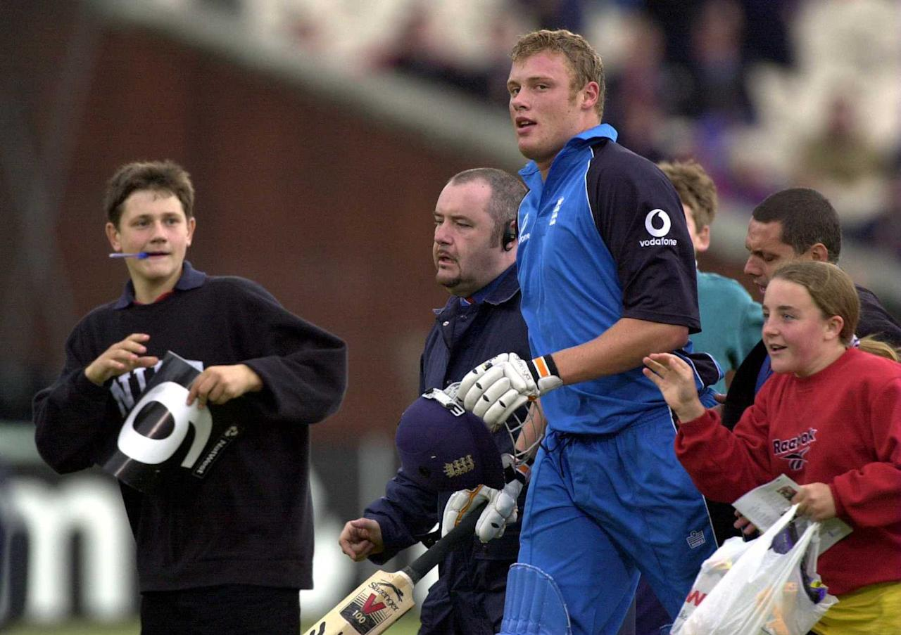 13 Jul 2000:  Andrew Flintoff of England is mobbed by kids after England Won the Natwest Triangular tournament England v Zimbabwe One Day International at Old Trafford, Manchester. Mandatory Credit: Tom Shaw/ALLSPORT