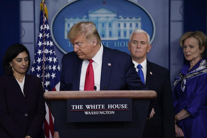 President Trump discusses the pandemic at a news conference.