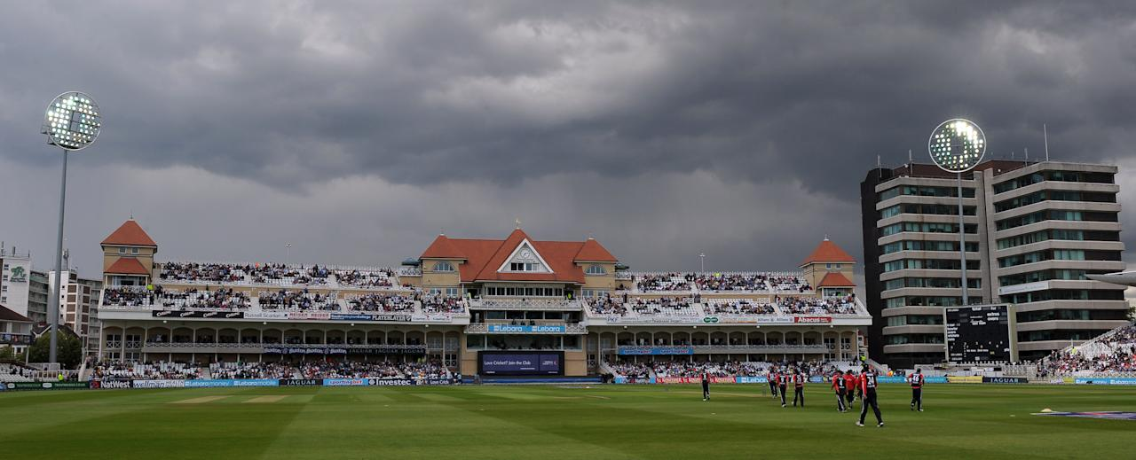 England cricketers take to the field during the fourth ODI against Sri Lanka at Trent Bridge Cricket Ground in Nottingham, England, on July 6, 2011. (PAUL ELLIS/AFP/Getty Images)