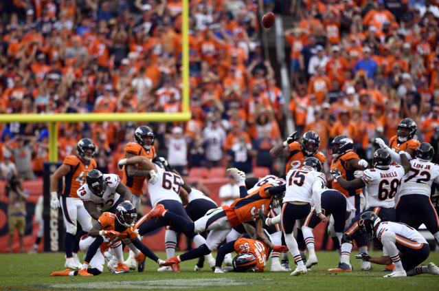 Eddy Pineiro kicks the game-winning field goal with one second left on Sunday against the Broncos in Denver. (Getty Images)