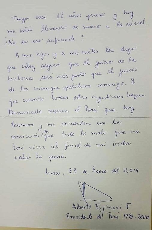 A picture made available to AFP by the family of former Peruvian President Alberto Fujimori shows the final page of a letter handwritten and signed by him on January 23, 2019