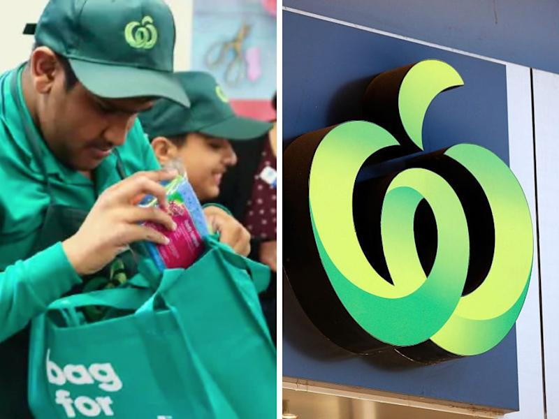 Split image of children with disabilities working at the new Woolworths specialty stores.